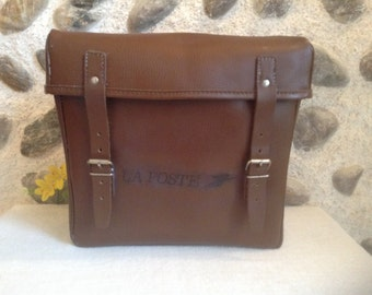 Quality Vintage French Postal Brown Leather Mail Bag, French LA POSTE, Probably a Bike Bag, in Wonderful Condition, Circa 1980's.