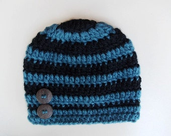 Baby boy hat Striped boy hat Newborn boy hat Baby hat Baby boy outfit Winter baby boy hat Hospital hat boy Black and  blue baby hat