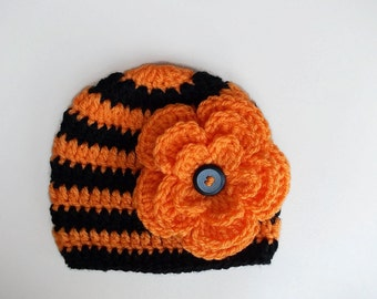 Crochet baby hat Baby girl hat Newborn girl hat Orange and black  baby hat Striped girl hat Baby girl beanie Winter baby girl hat