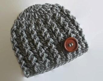 Baby boy hat, baby hat, crochet baby hat, newborn hat, baby boy, newborn boy hat, baby boy beanie, newborn baby hat, gray baby hat