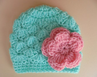 Newborn girl hat, crochet baby hat, baby girl hat, mint green baby hat, crochet newborn hat, flower baby hat, baby girl outfit