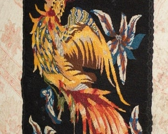 Ref: 156  Vintage needlepoint/embroidered Rooster tapestry. Circa 1960's.