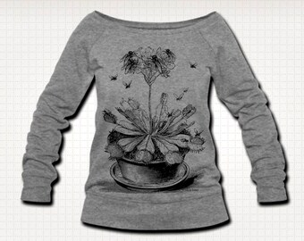 Venus Fly Trap Plant Pot Insect Womens Ethically Produced Boatneck Off The Shoulder Sweatshirt Sweater Jumper. Grey. Sizes S-XL.