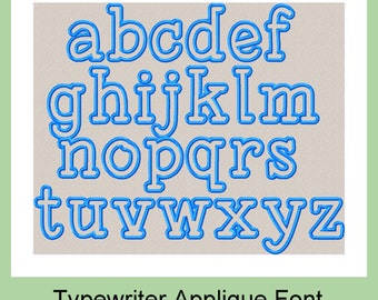 Machine Embroidery Font - Typewriter Font - 3 inch Applique letters Lower case
