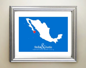 Mexico Custom Horizontal Heart Map Art - Personalized names, wedding gift, engagement, anniversary date