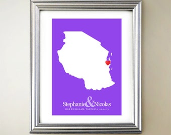 Tanzania Custom Vertical Heart Map Art - Personalized names, wedding gift, engagement, anniversary date