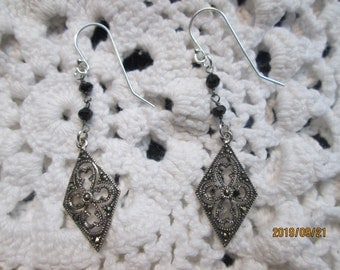 Handcrafted Genuine Marcasite & Black Spinel Cross 925 Sterling Silver Cross Dangle Earrings, Wt. 3.2 Grams