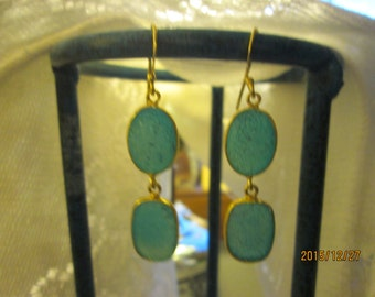 Handcrafted Victorian 14K Gold/Sterling 14.00ct Fairy Blue Druzy Quartz Dangle Earrings 6.5g, Size 51x11.4mm