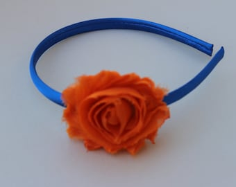 SALE blue headbands, Orange headband, girls broncos headband, toddler headbands, Denver Broncos headband broncos hair accessory bron