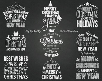 Chalkboard Merry Christmas Clipart Clip Art with chalk compliments, holidays words, christmas congratulation and Christmas decorations