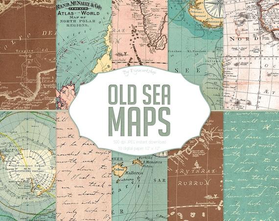 Vintage karten digitalpapier alten meer karten mit von digiworkshop