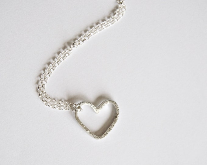 Silver Heart Necklace - Love Heart Outline Pendant - Textured Sterling Silver - Recycled - Gift for Her