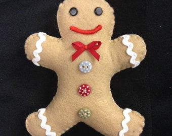 Felt Gingerbread Man Christmas Decoration
