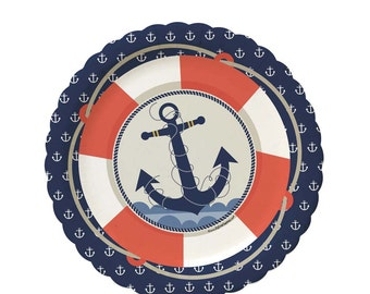 8 Count - Ahoy Nautical Dessert Plates - Baby Shower or Birthday Party Supplies