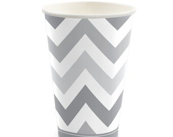 8 Count - Chevron Gray Hot/Cold Cups - Baby Shower or Birthday Party Supplies