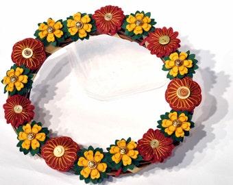 Autumn wreath / Christmas felt Wreath / Wicker / Handmade Christmas decorations / Red and gold / Embroidered flower wreath / Felt