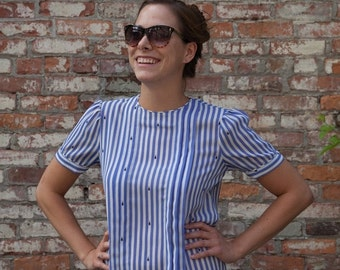 50% Clearance SALE Ladies pleated AND striped vintage shirt by Josephine