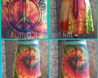 Tie-dye upcycled mini skirt, festival hippie San Francisco