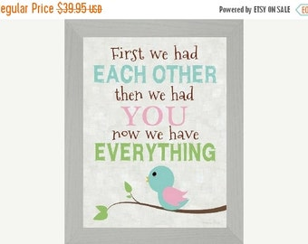 """Sale First We Had Each Other Bird Pink Green Decor Art Framed Picture 16x20"""""""