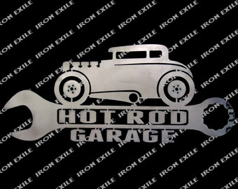 Hot Rod Coupe Garage Metal Wall Art Sign Street Rat Rod Speed Shop Gearhead Gift