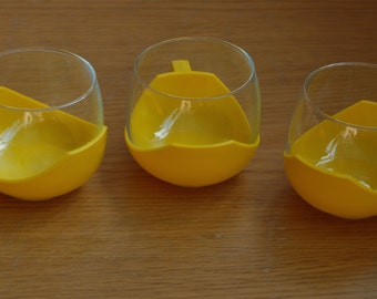 Three Retro Bright Yellow Glass and Plastic cups 1960's 1970's- Camping Cups