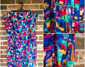 Vibrant Funky Midi Full Skirt with Pockets, XL