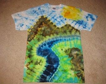 Fly fishing, tie dye shirt, river shirt, nature shirt, Earth Day