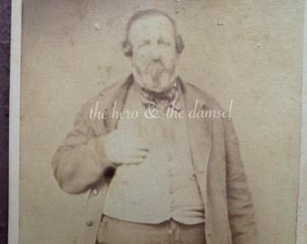 Big Belly Man // Kinda funny antique photo CDV, fat man with beard holding vest
