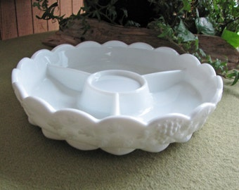 Westmoreland Milk Glass Relish Tray Paneled Grape Pattern Vintage White Appetizer Dish