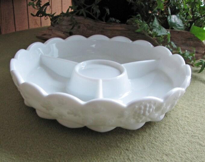 Westmoreland Milk Glass Relish Tray Paneled Grape Pattern Vintage White Appetizer Dish