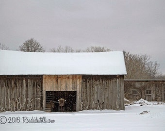 "Rustic Barn Picture ~ Tractor waits inside Barn while snow falling ~ ""Awaiting Summer"" ~ Winter Barn Landscape ~ Textured Photograph"