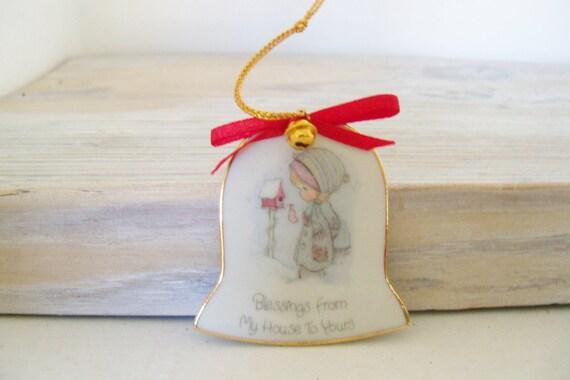 Vintage Precious Moments Bell Shaped Christmas Ornament 1986 Porcelain Samuel J Butcher Enesco Imports