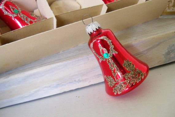 Vintage Blown Glass Christmas Ornaments Red Bells Hand Decorated Gold Silver Glitter Accents Made in West Germany 1950s 5 Pc Original Box
