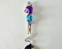 1 Wire Wrapped Beaded Curved Dip Spoon