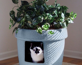 dusty blue sandstone decor ivy cat hidden litter box