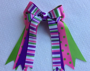 Horse Show Bows/pink green purple/sure to be noticed