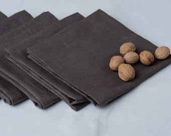 """SET Linen napkins in size 16"""" dark Gray grey of 6 organic kitchen pure flax linens housewares tablecloth Wedding holiday"""