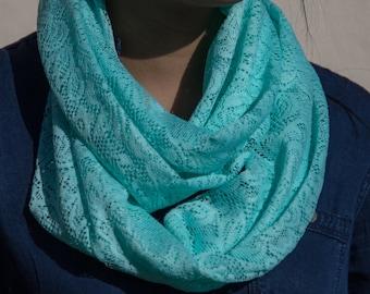 Light Blue Lace Infinity Scarf