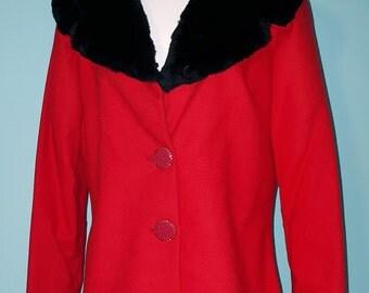 Beautiful Vintage Red Wool Blend Jacket w/ Black Faux Collar