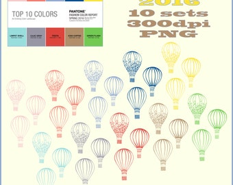 """Hot Air Balloons, Pantone 2016 - Spring Colors, Flower Sets """"300 dpi""""  Reg. Price 7.99 On Sale Now!"""