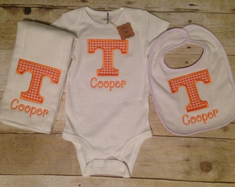 Tennessee Vol Power T Personalized Bodysuit, Toddler Shirt, Baby Gown Burp Cloth, Bib, Baby Boy Tennessee, Baby Girl Tennessee, Vols Outfit