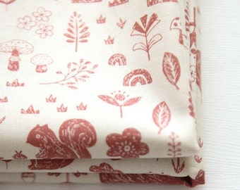 Animal Forest Pattern Cotton Fabric by Yard (Pink)
