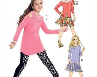 Girls' Back-Yoke Top, Drop-Waist Dress, Cold-Shoulder Tunic, Skirt and Leggings McCalls Pattern M7428