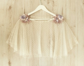 Cape for tulle wedding dress embroidered with mauve flowers