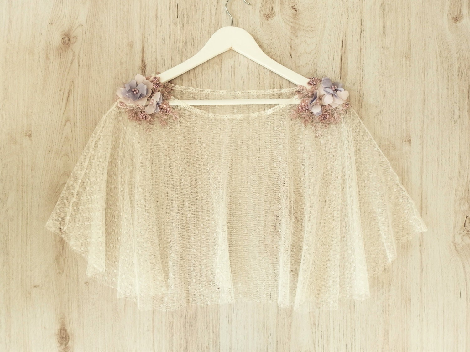 Wedding Gown With Cape: Cape For Tulle Wedding Dress Embroidered With Mauve Flowers