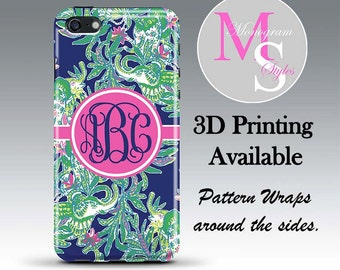 Monogram iPhone 7 Personalized Phone Case Lilly Pulitzer Inspired Monogrammed iPhone Case, Iphone 4, 4S iPhone 5, 5S, 5C iPhone 6 Plus #2743