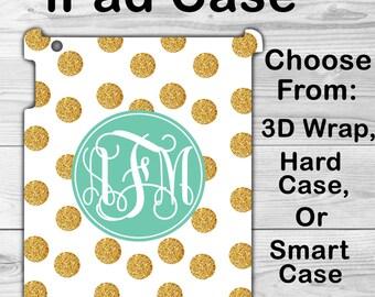 Monogram iPad Mini 1/2/3/4 Case Personalized iPad Air 1/2 Gold Polka Dots iPad 2/3/4 Smart Case iPad Retina Flip Case, 3D Case #2367