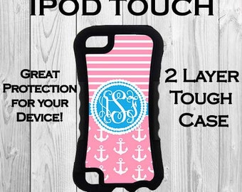 Monogram iPod 6 iPod 5 Touch 2 Layer Tough Case Personalized iPod Case Pink and Blue Striped Anchors Monogrammed Protective iPod Case 2623
