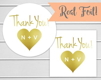 Gold Foil Wedding Thank you Stickers, Personalized Color Foil Wedding Stickers, Thank You Labels, Envelope Seals  (#103-F)