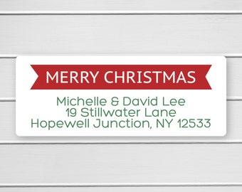 Merry Christmas Return Address Labels, Christmas Return Address Stickers, Holiday Address Stickers (#388)